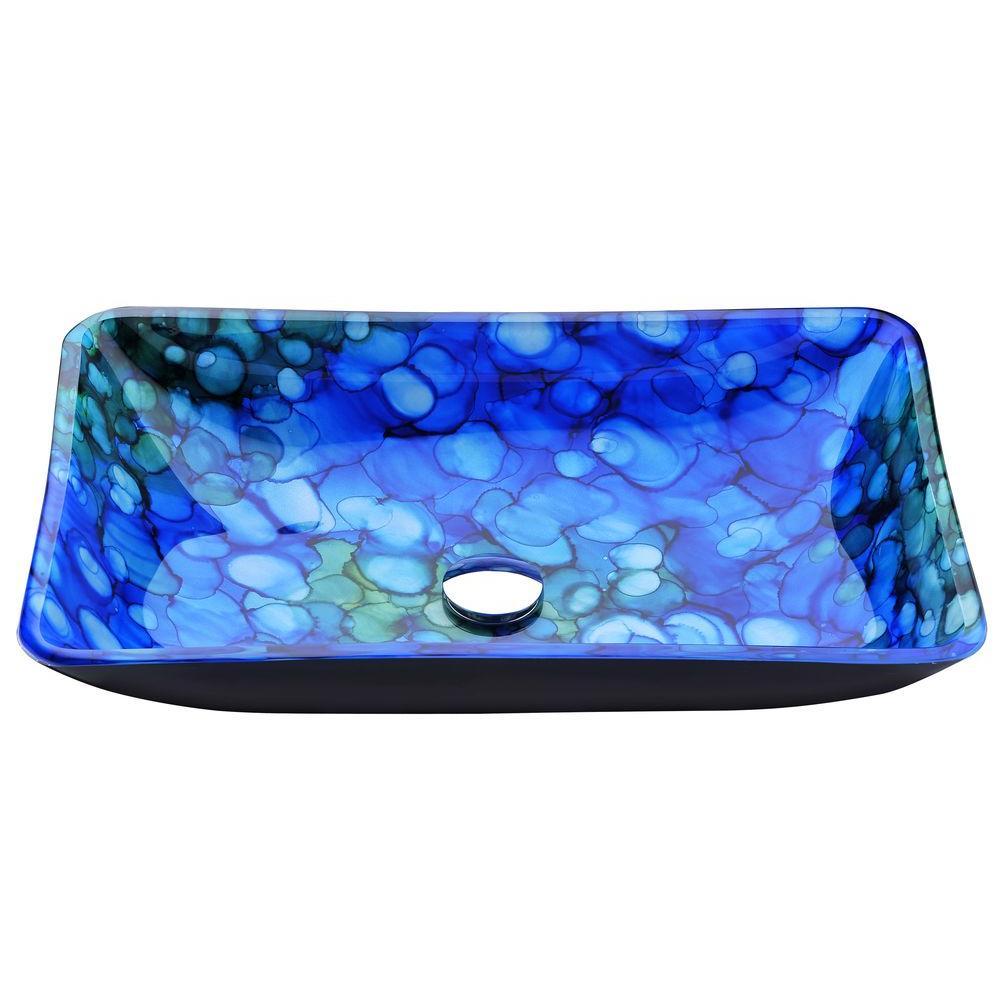 Voce Series Deco-Glass Vessel Sink in Lustrous Blue
