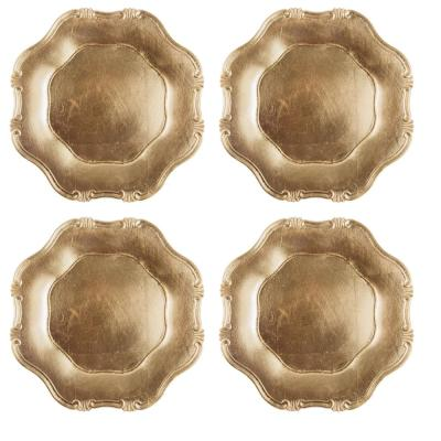 Home Essentials & Beyond 13 in. 4-Piece Baroque Gold Plate Charger Set