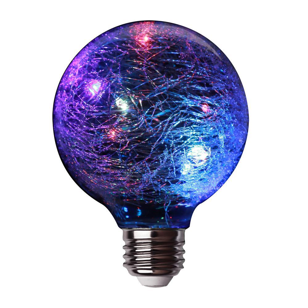 11-Watt Equivalent G25 LED Fairy Light Crackle Glass Light Bulb Multi-Color