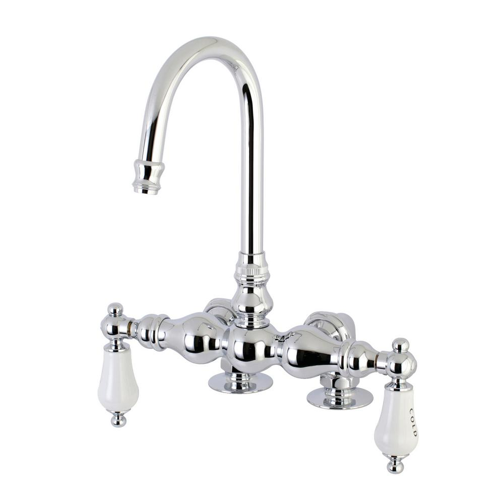 Porcelain Lever 2-Handle Claw Foot Tub Faucet in Polished Chrome