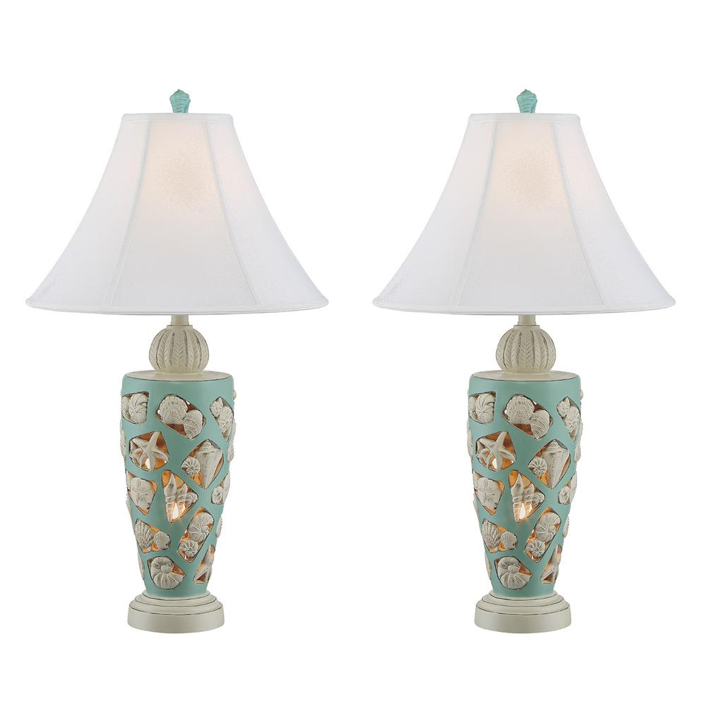31 in. Sky Blue Indoor Table Lamp Set
