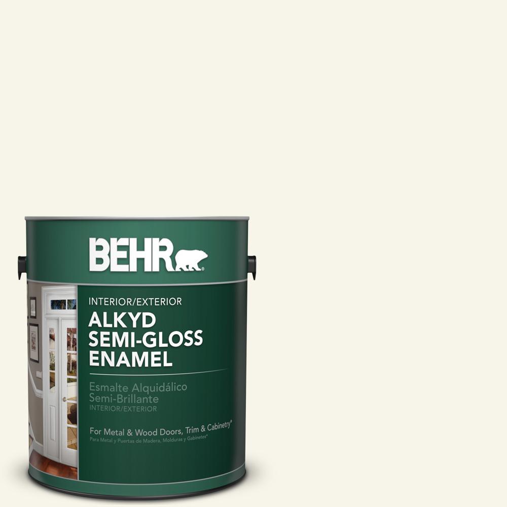 1 gal. #PWN-11 Calla Lily Semi-Gloss Enamel Alkyd Interior/Exterior Paint
