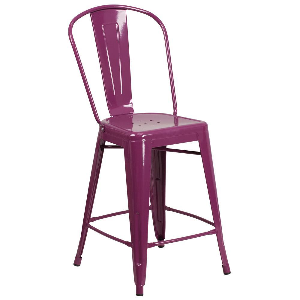 Flash Furniture 24 In. Purple Bar Stool