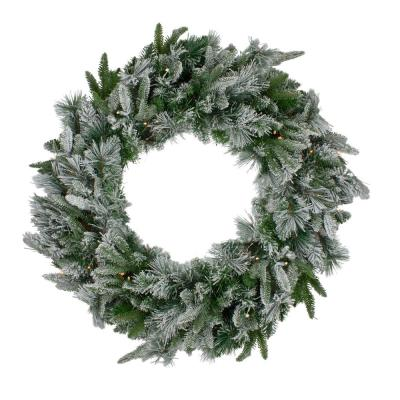 30 in. Clear Lights Pre-Lit LED Flocked Mixed Rose Mary Emerald Angel Pine Artificial Christmas Wreath
