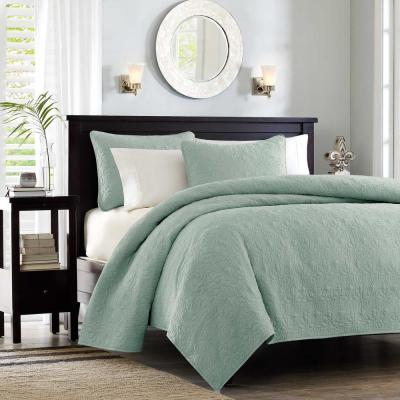 Mansfield 3-Piece Seafoam King/Cal King Reversible Mini Coverlet Set