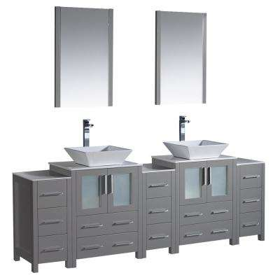 W Double Vanity In Gray With Gl Stone Top White