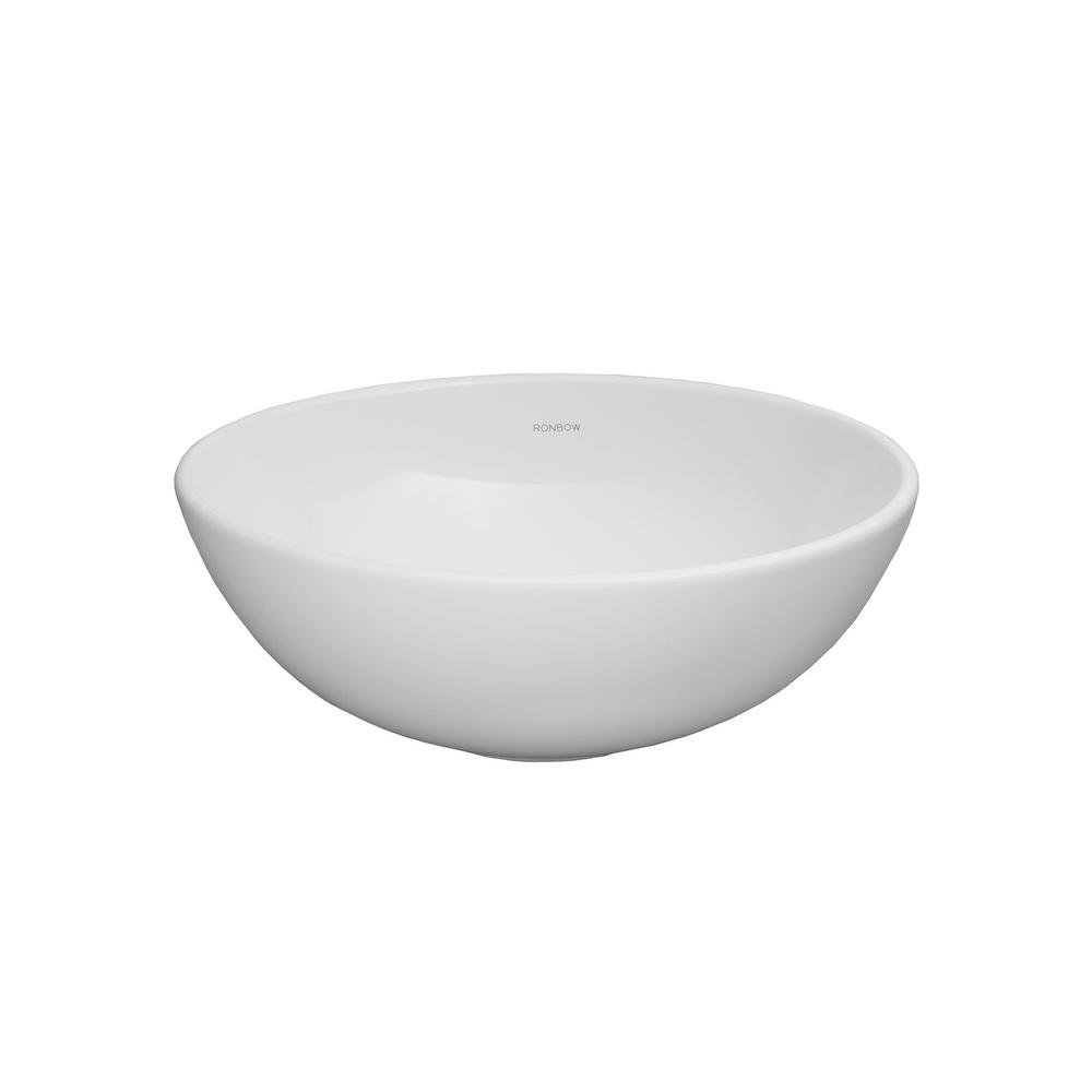 Ronbow Essentials Contour Vessel Sink In White 200007 WH   The Home Depot