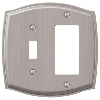 Vineyard 2 Gang 1-Toggle and 1-Rocker Steel Wall Plate - Brushed Nickel