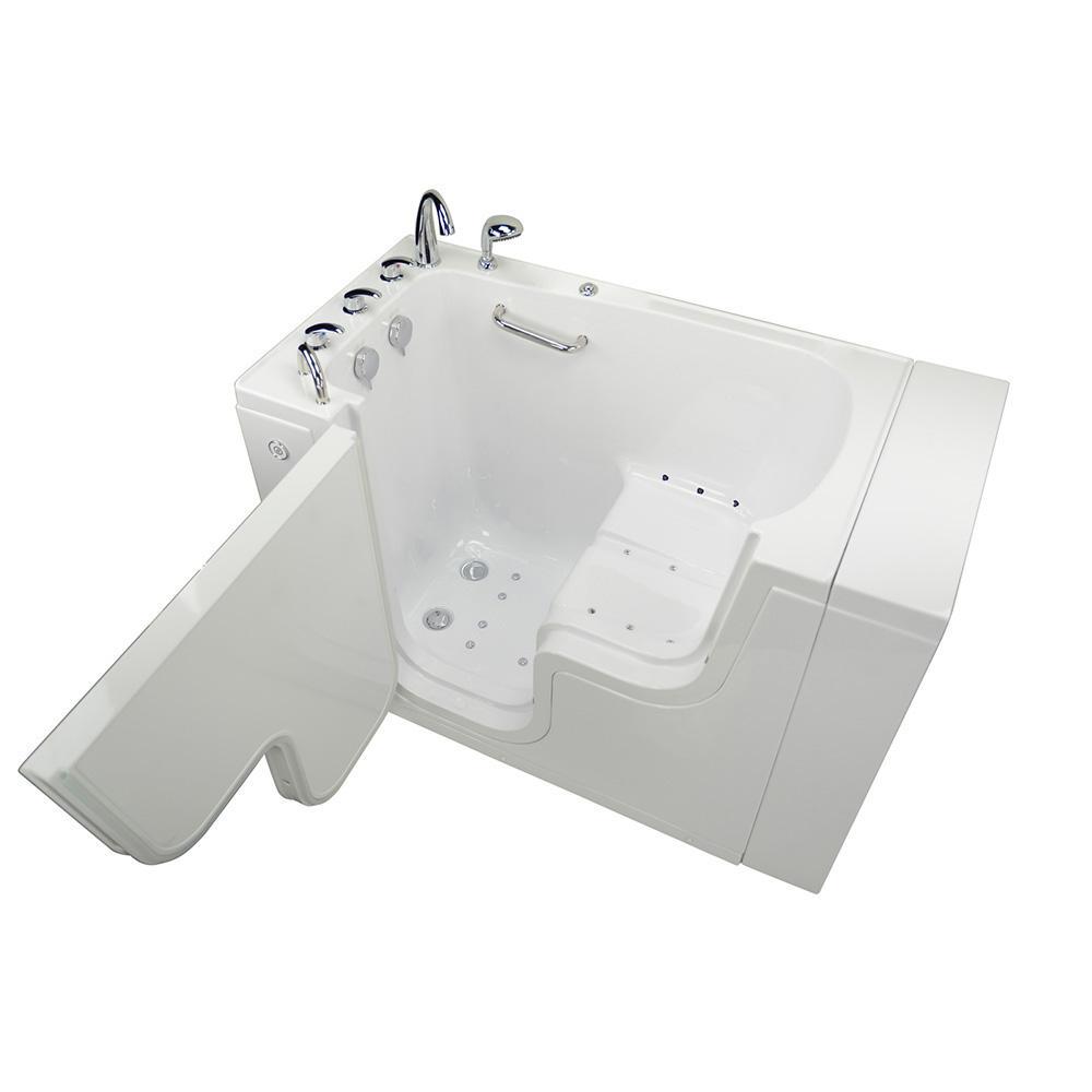 Acrylic Walk In Air Bath Bathtub White With Faucet Set Heated Seat Left 2 Dual Drain