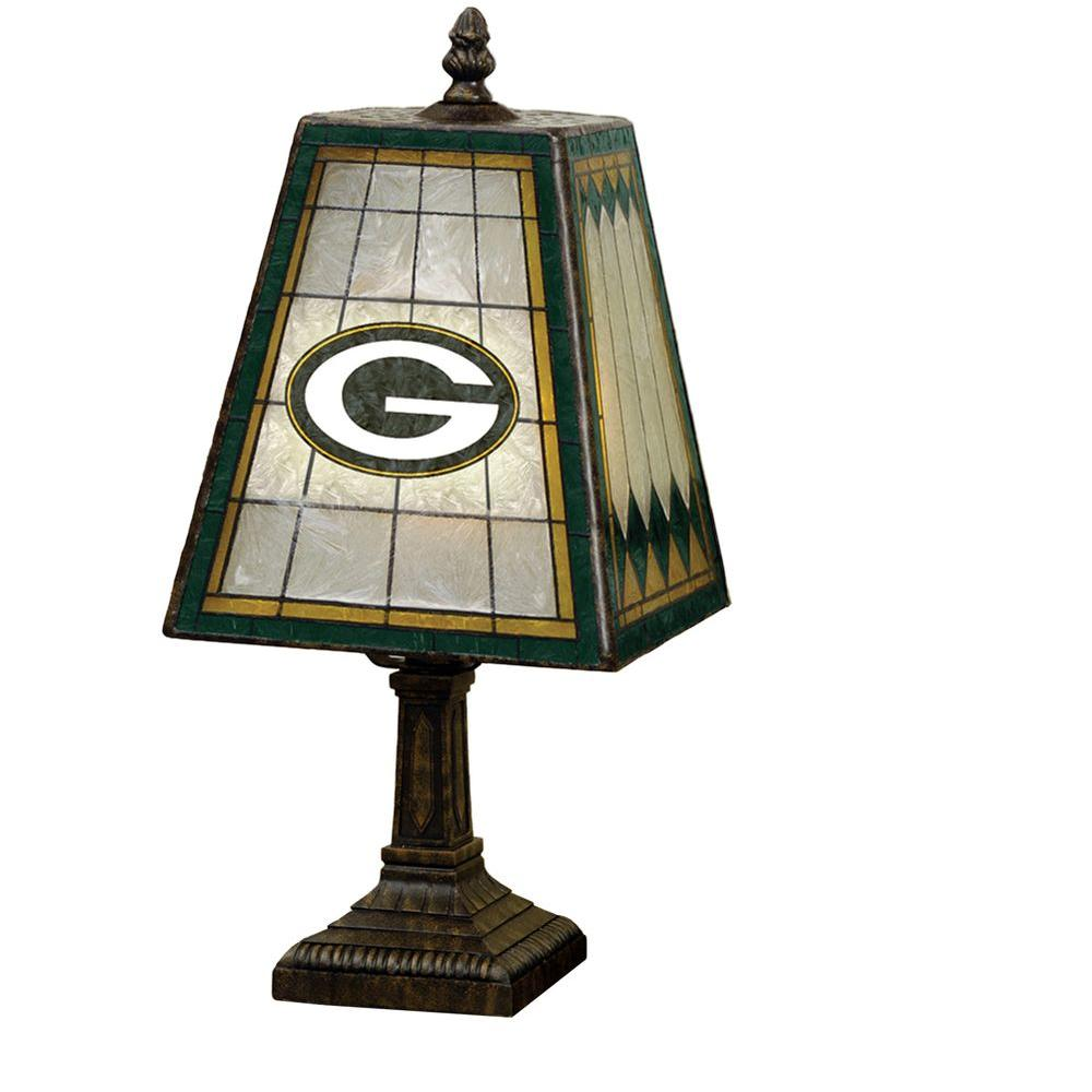The Memory Company NFL 14 in. Art Glass Table Lamp - Green Bay Packers -DISCONTINUED
