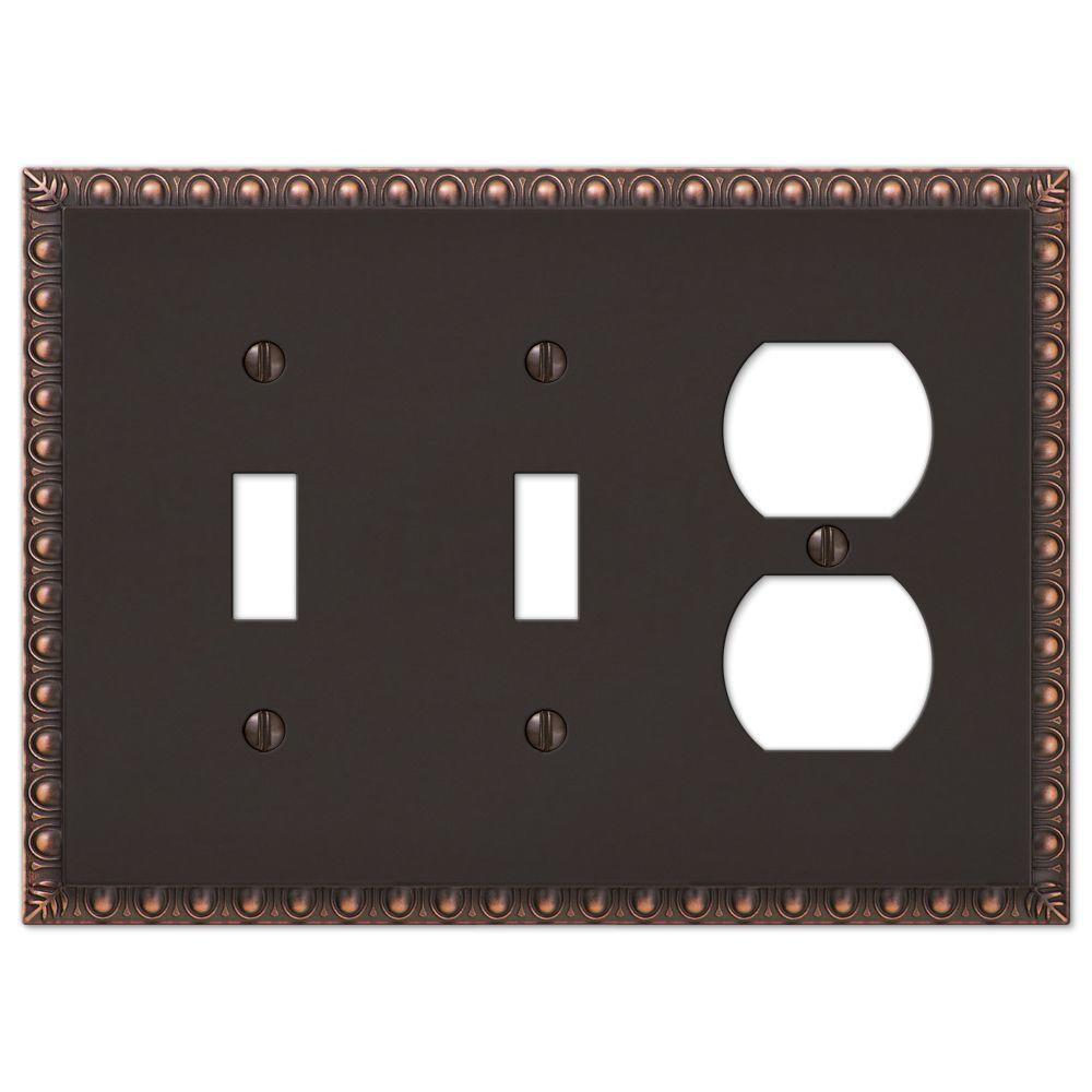 Antiquity 3 Gang 2-Toggle and 1-Duplex Metal Wall Plate - Aged Bronze