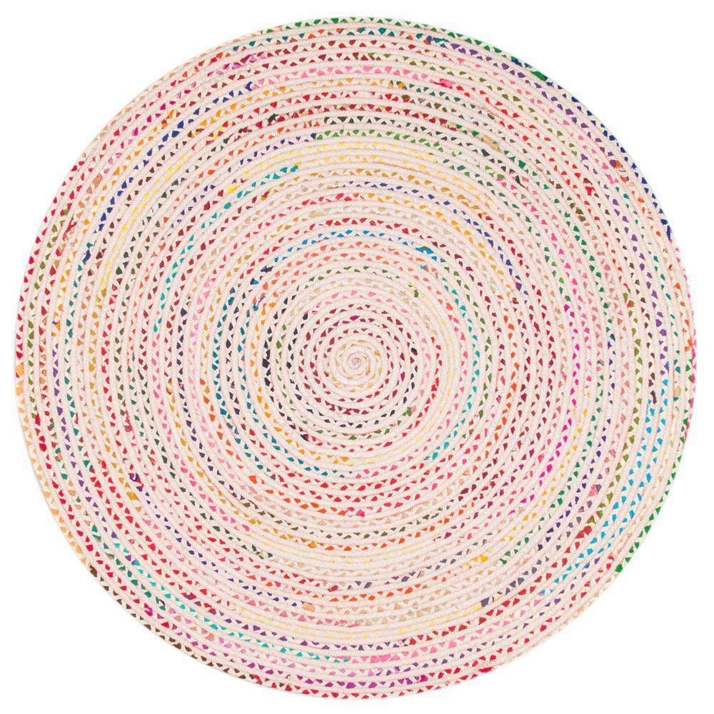 Tammara Colorful Braided Ivory 6 ft. Round Rug