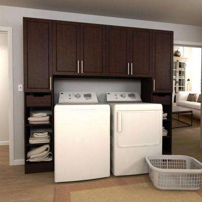 madison 90 in w mocha tower storage laundry