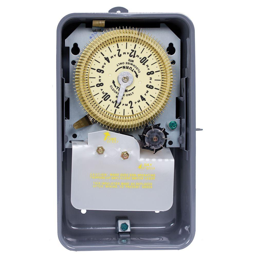 Intermatic T1970 Series 20 Amp 24-Hour Mechanical Time Switch with Skipper and Steel Outdoor Enclosure - Gray