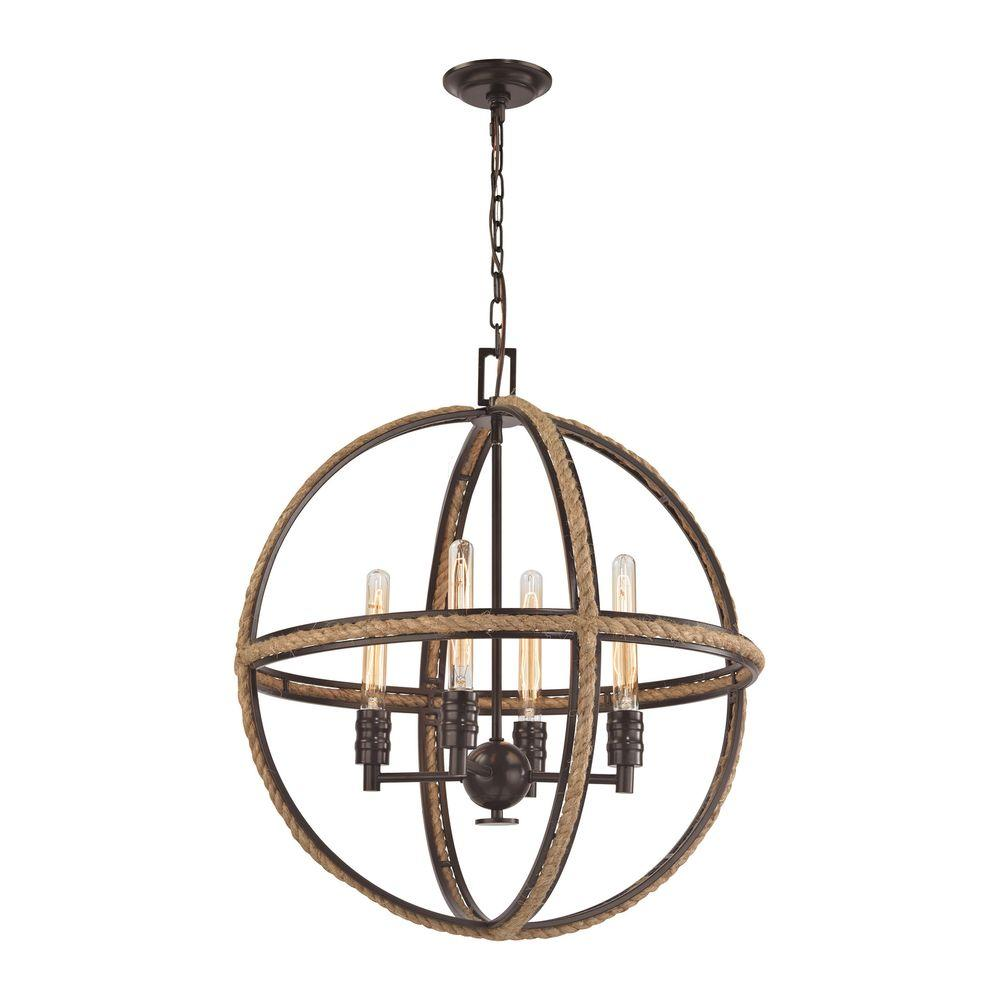 Natural Rope 4-Light Oil Rubbed Bronze Chandelier