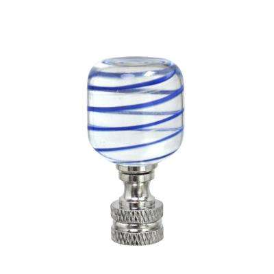 2 in. Clear and Blue Line Glass Lamp Finial with Nickel Finish (1-Pack)
