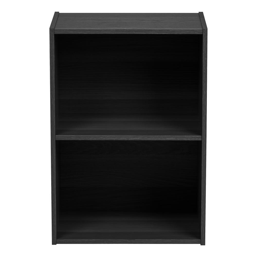 Black 2-Tier Wood Storage Shelf