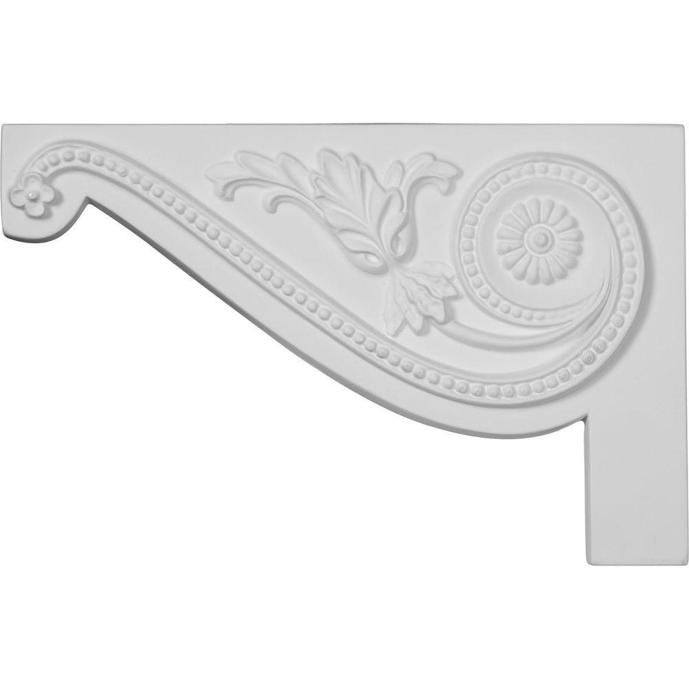 Ekena Millwork 5/8 in. x 11 in. x 7 in. Polyurethane Left Large Pearl Stair Bracket Moulding