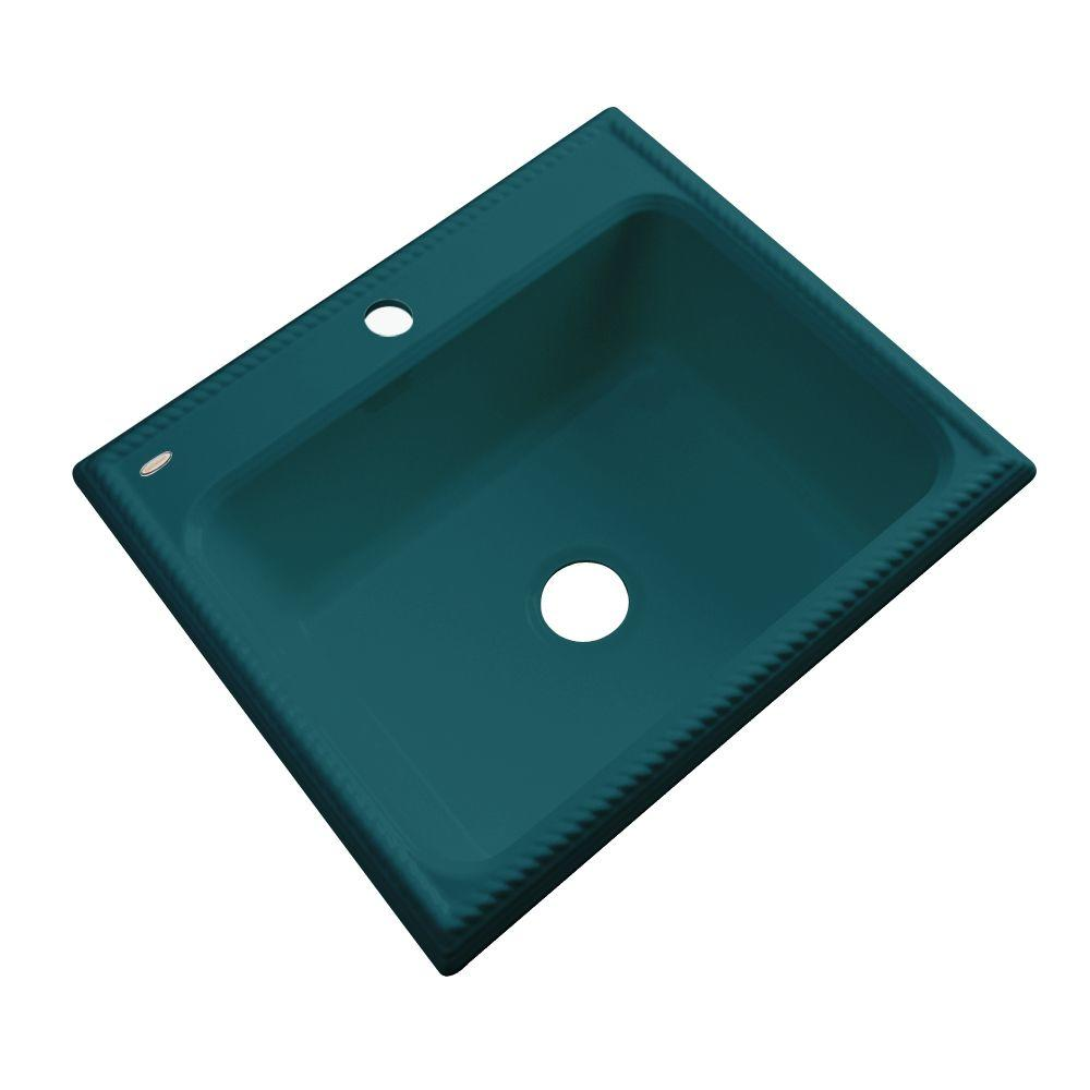Thermocast Wentworth Drop-In Acrylic 25 in. 1-Hole Single Bowl Kitchen Sink in Teal