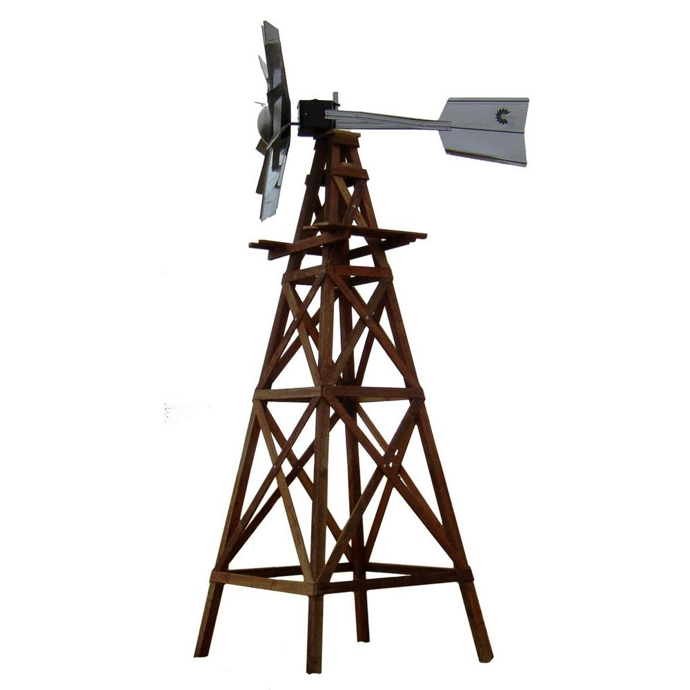 Outdoor Water Solutions 16 ft. Aeration Windmill 4 Legged Wooden Windmill