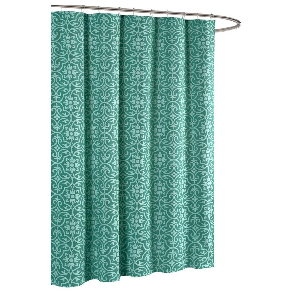 Allure Printed Cotton Blend 72 In W X L Soft Fabric Shower Curtain Teal