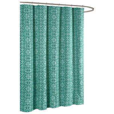 Allure Printed Cotton Blend 72 in. W x 72 in. L Soft Fabric Shower Curtain Teal