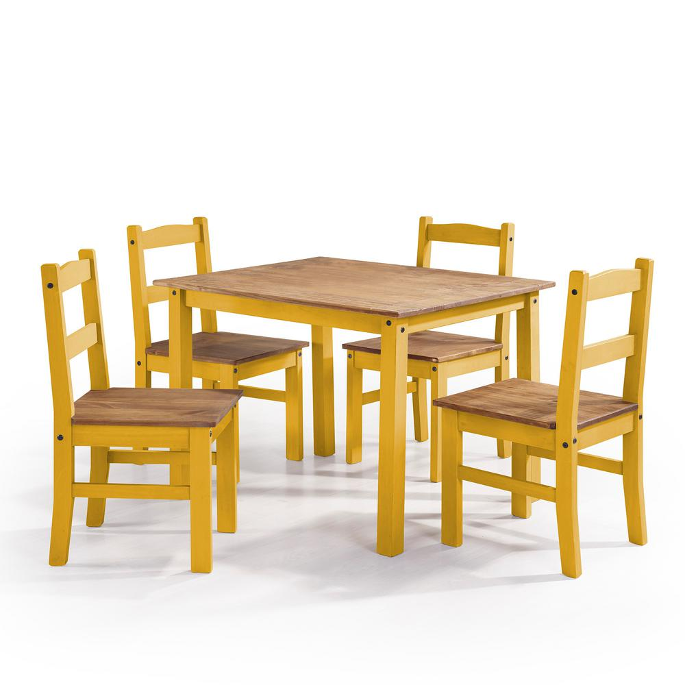 Manhattan Comfort York 5 Piece Yellow Wash Solid Wood Dining Set With 1 Table