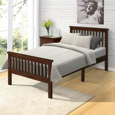 Espresso Wood Platform Twin Bed Frame with Headboard and Footboard