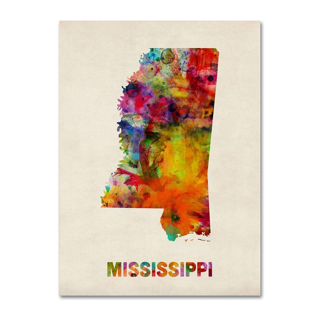24 in. x 32 in. Mississippi Map Canvas Art