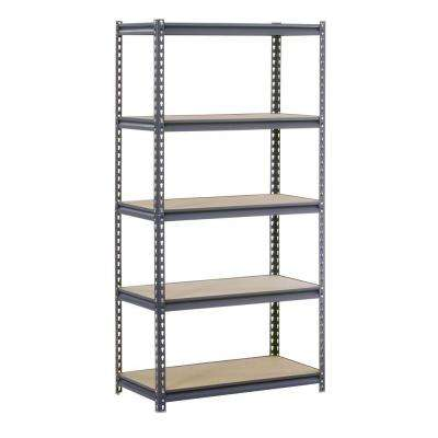 72 in. H x 36 in. W x 24 in. D Steel Commercial Shelving Unit in Gray