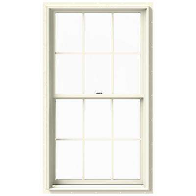 33.375 in. x 60 in. W-2500 Series Cream Painted Clad Wood Double Hung Window w/ Natural Interior and Screen
