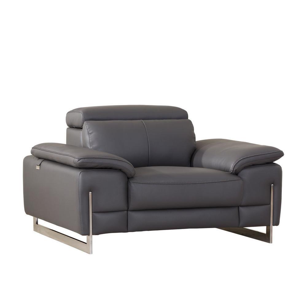 Charlie Tasteful Dark Grey Leather Chair
