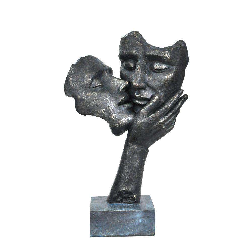 Kissing Couple Faces Patina Black Sculpture