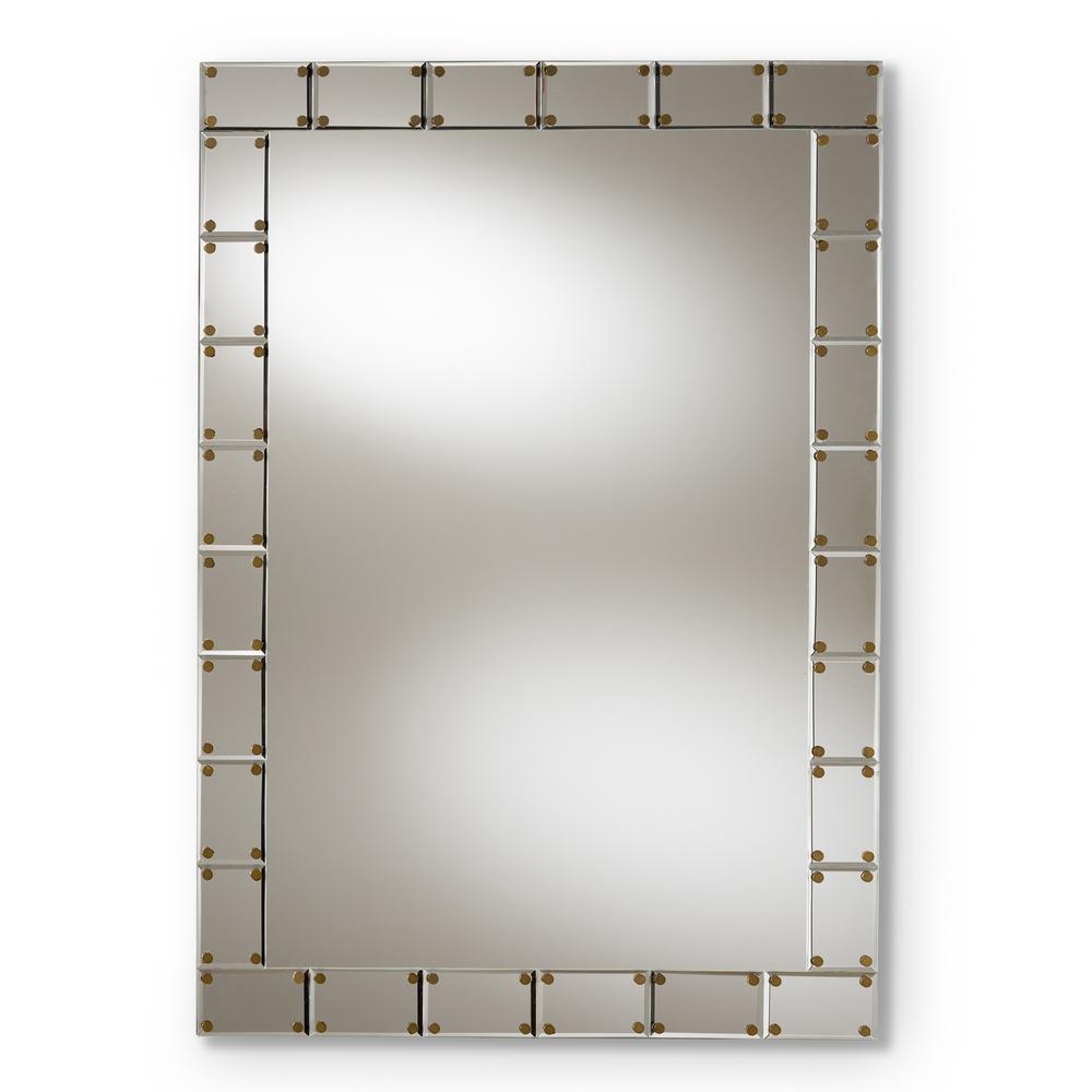 Medium Rectangle Silver Contemporary Mirror (39.5 in. H x 27.5 in. W)
