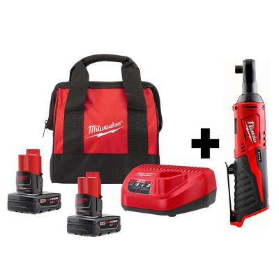 M12 12-Volt Lithium-Ion Cordless 3/8 in. Ratchet Kit W/ Two 4.0 Ah Batteries , Charger & Tool Bag