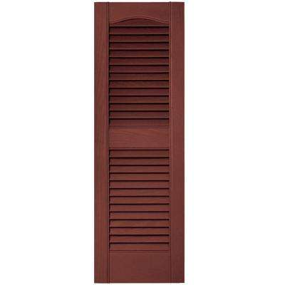 12 in. x 36 in. Louvered Vinyl Exterior Shutters Pair in #027 Burgundy Red