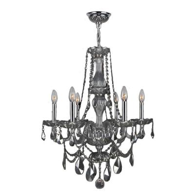 Provence Collection 6-Light Polished Chrome and Smoke Crystal Chandelier