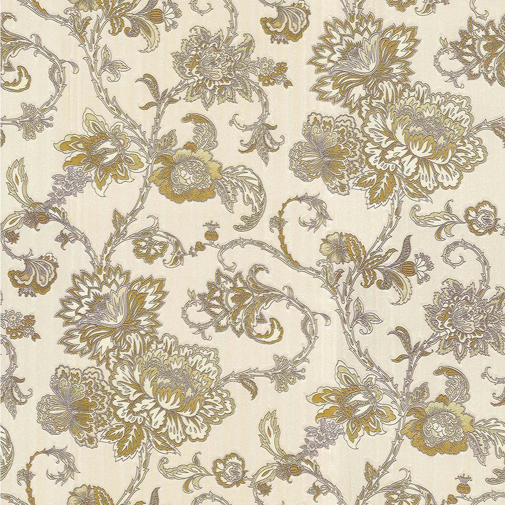 Brewster 8 in. x 10 in. Belinda Champagne Trail Wallpaper Sample