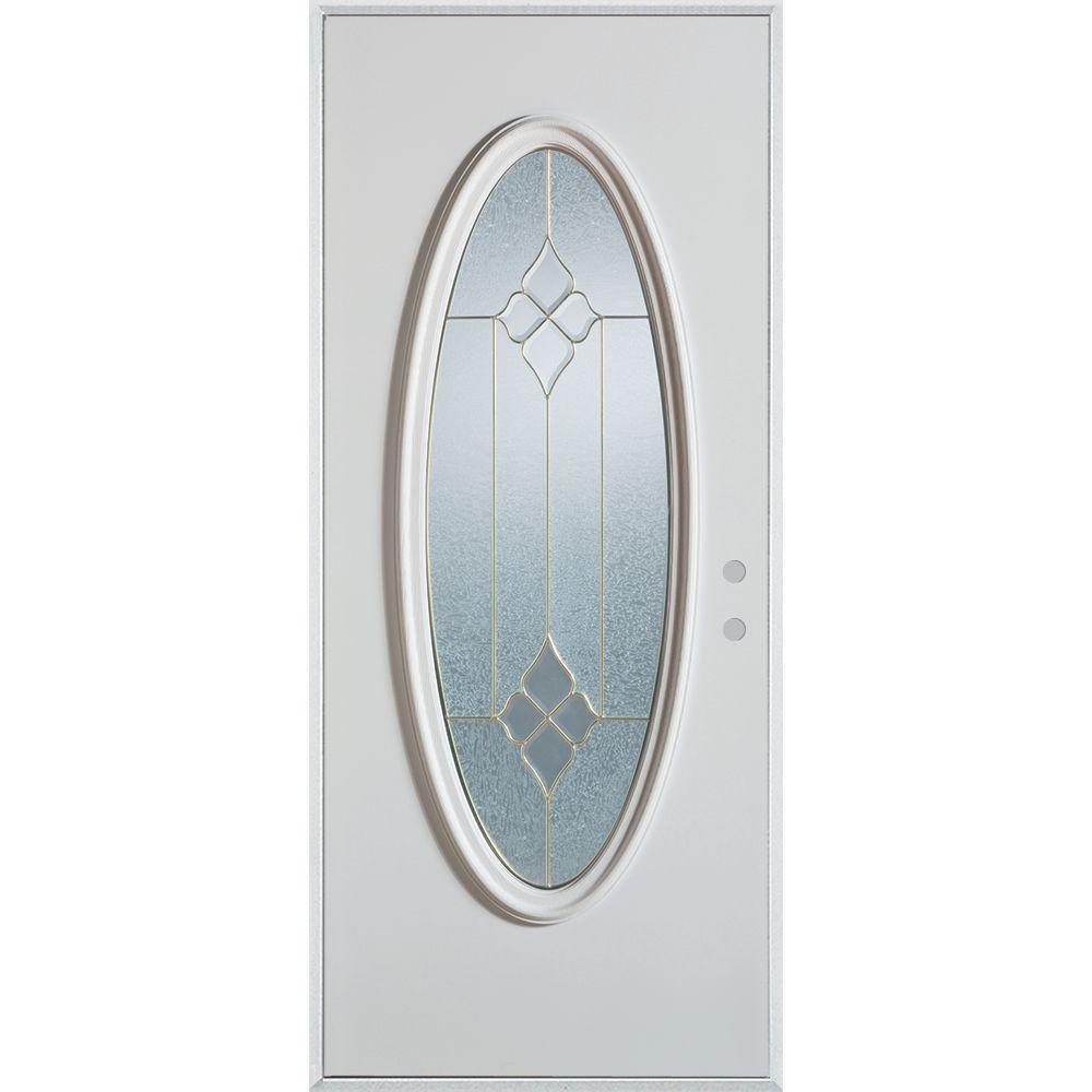 Stanley Doors 36 in. x 80 in. Geometric Brass Full Oval Lite Painted White Left-Hand Inswing Steel Prehung Front Door