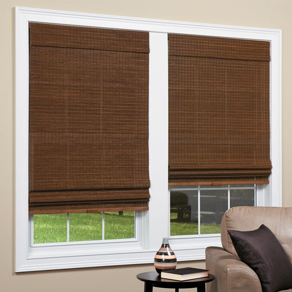 Homebasics panama natural woven bamboo cordless roman for Long windows for sale