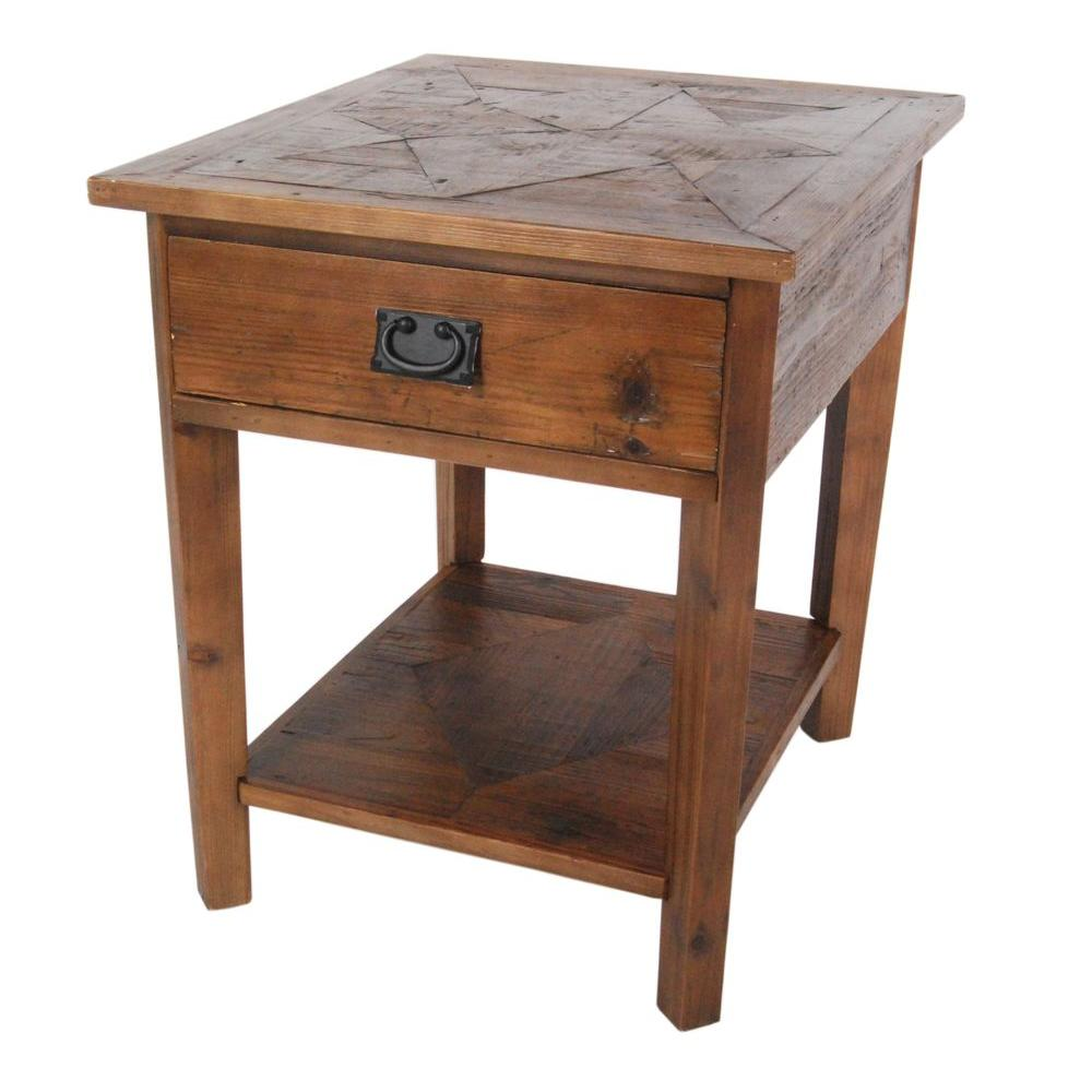 Alaterre Furniture Revive Natural Oak Storage End Table