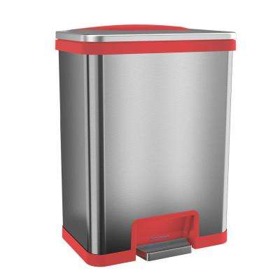 TapCan 13 Gal. Step Pedal Sensor Trash Can (Red Trim)