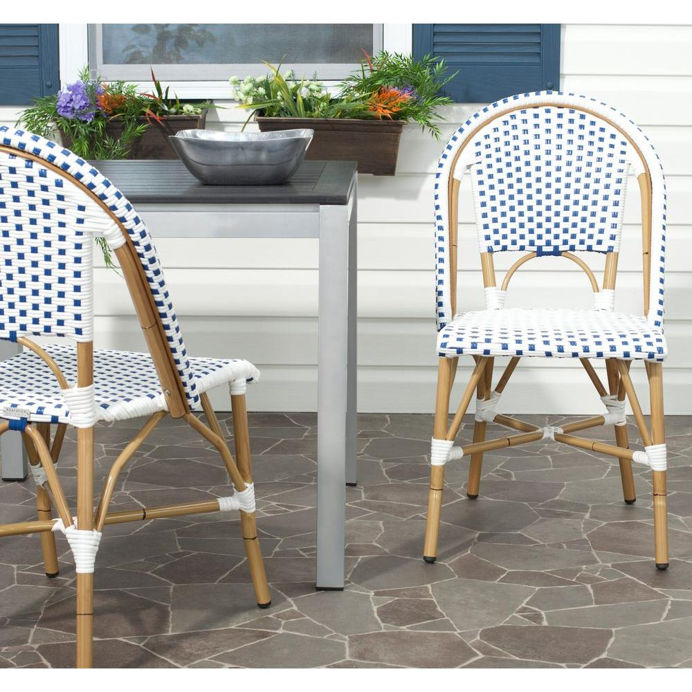 Safavieh Salcha Blue And White Outdoor Dining Chair (Pack