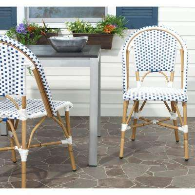 Salcha Blue and White Outdoor Dining Chair (Pack of 2)