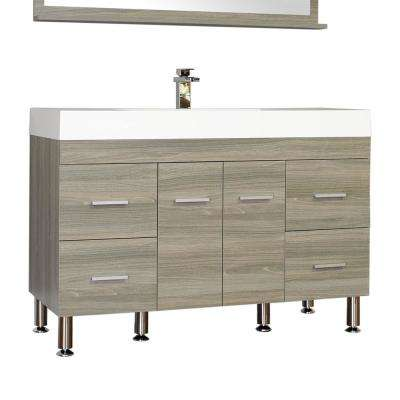 Ripley 47 in. W x 19.5 in. D x 33.12 in. H Vanity in Gray with Acrylic Vanity Top in White with White Basin