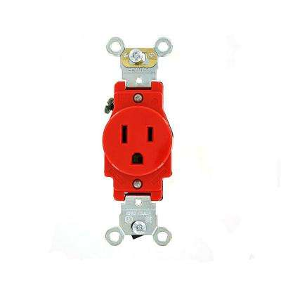 15 Amp Industrial Grade Heavy Duty Self Grounding Single Outlet, Red