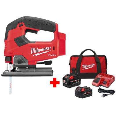 M18 FUEL 18-Volt Lithium-Ion Brushless Cordless Jig Saw with One 9 0 Ah and  One 5 0 Ah Battery, Bag and Charger