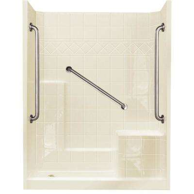 32 in. x 60 in. x 77 in. Standard Plus 36 Low Threshold 3 Piece Shower Kit in Biscuit with Right Seat and Left Drain