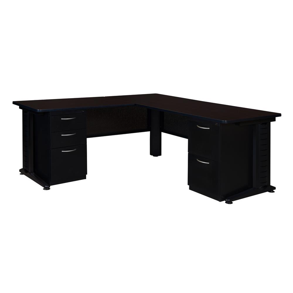 Fusion Mocha Walnut 72 in. Double Pedestal L-Desk with 48 in. Return