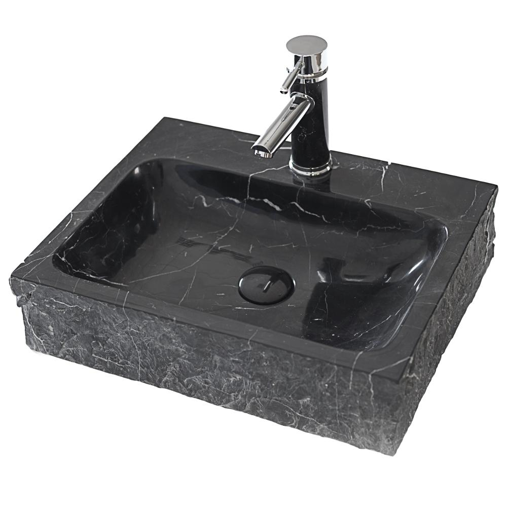 Eviva Stonie China Vessel Sink in Black with Overflow Drain